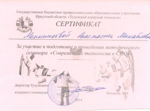 Сертификат о выступлении в семинаре по современным технологиям